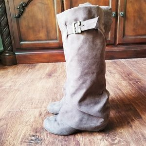 FOLD OVER CUFF SLOUCHY WEDGE TALL BOOTS SIZE 8